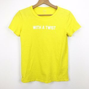"J.Crew Yellow ""With A Twist"" Graphic T-shirt XS"